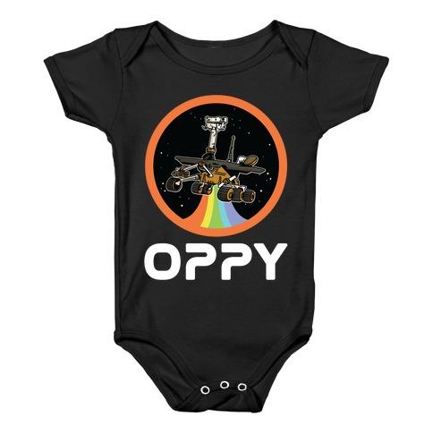 Oppy Nasa Parody Vintage Logo Baby Onesy