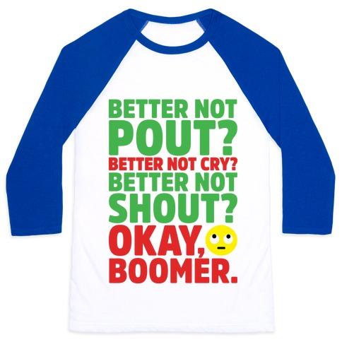 Okay Boom Santa Parody Baseball Tee