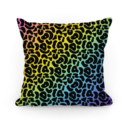 Rainbow Cheetah Print Pillow