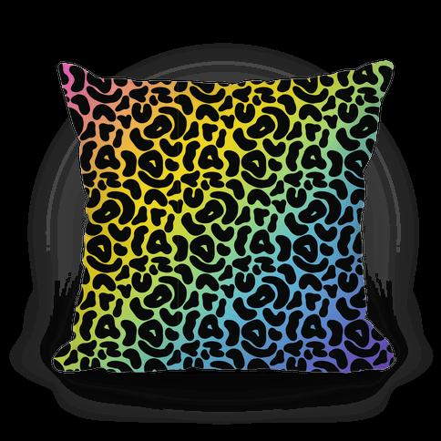 Rainbow Cheetah Print Pillow