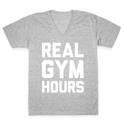 Real Gym Hours V-Neck Tee Shirt