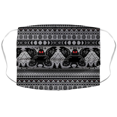 Mothman Ugly Sweater Pattern Accordion Face Mask
