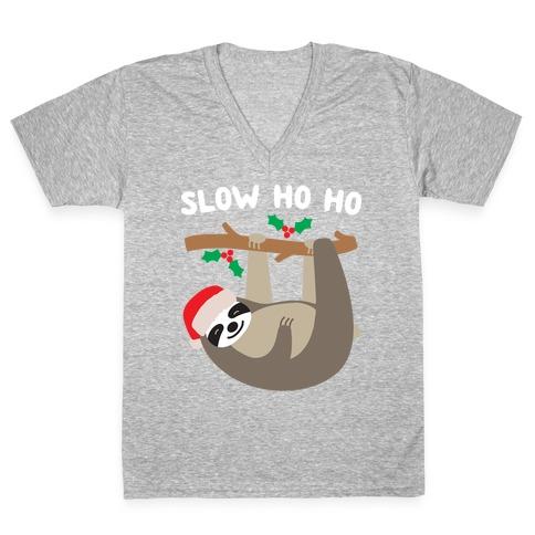 Slow Ho Ho Santa Sloth V-Neck Tee Shirt