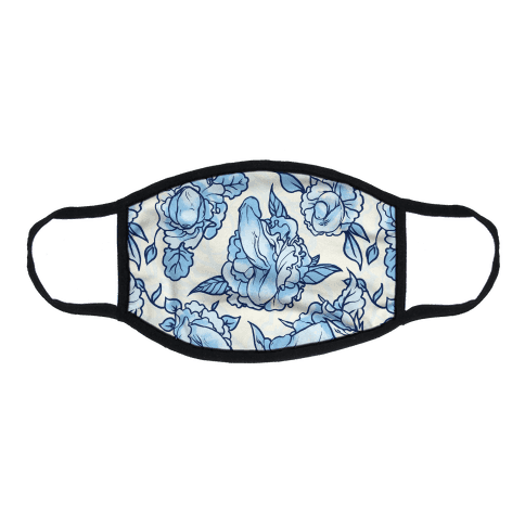 Floral Penis Pattern Blue Flat Face Mask