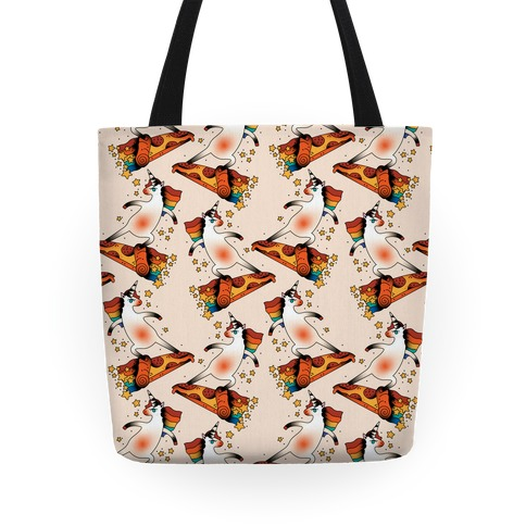 Rad Unicorn Skateboarding a Pizza Tattoo Tote