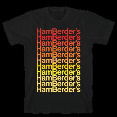 Hamberder's Parody White Print Mens T-Shirt