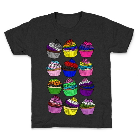 LGBTQ+ Cartoon Cupcakes Kids T-Shirt