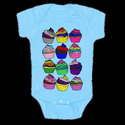 LGBTQ+ Cartoon Cupcakes Baby One-Piece