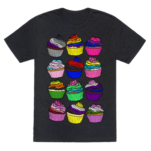 LGBTQ+ Cartoon Cupcakes Mens/Unisex T-Shirt