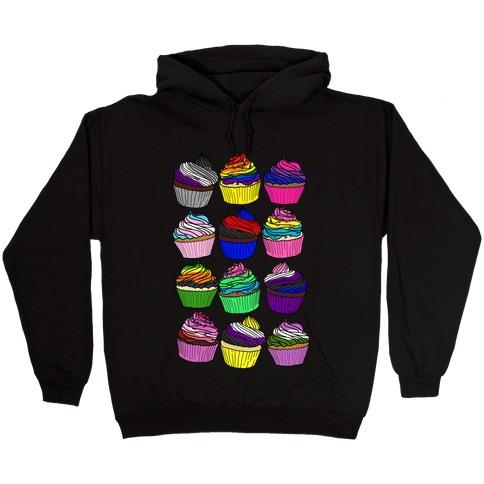 LGBTQ+ Cartoon Cupcakes Hooded Sweatshirt