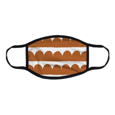 Simple Scalloped Lines Pattern Rust Orange Flat Face Mask