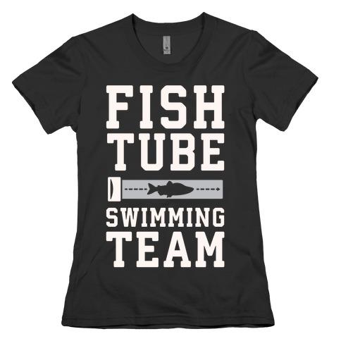 Fish Tube Swimming Team White Print Womens T-Shirt