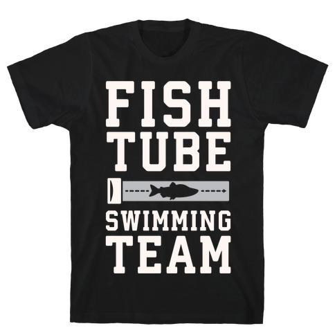 Fish Tube Swimming Team White Print T-Shirt