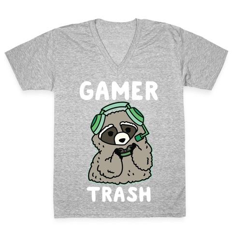 Gamer Trash Raccoon V-Neck Tee Shirt