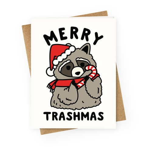 Merry Trashmas Raccoon Greeting Card