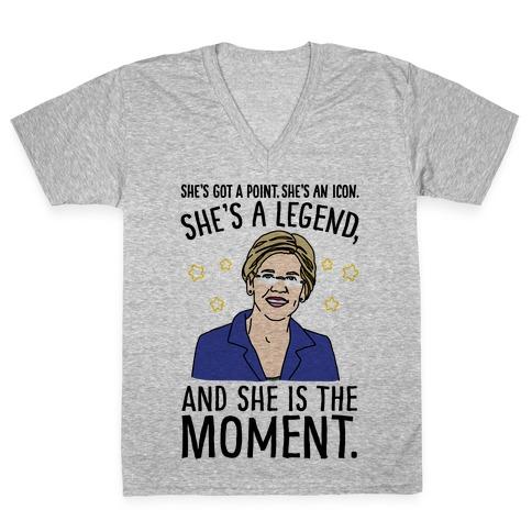 She's Got A Point She's An Icon She's A Legend and She Is The Moment Elizabeth Warren Parody V-Neck Tee Shirt
