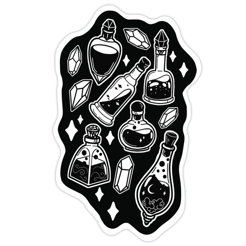 White On Black Potions Pattern Die Cut Sticker