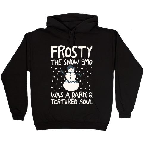 Frosty The Snow Emo Parody White Print Hooded Sweatshirt