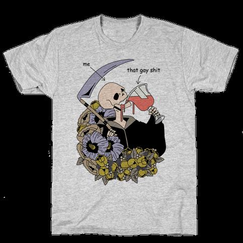 Skeleton Drinking Wine Mens T-Shirt