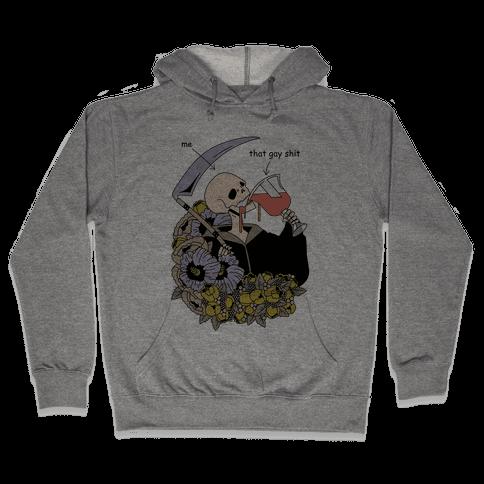 Skeleton Drinking Wine Hooded Sweatshirt