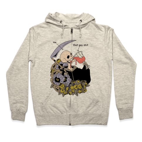 Skeleton Drinking Wine Zip Hoodie
