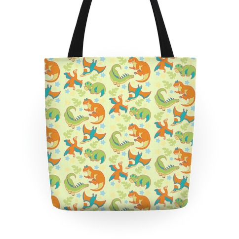 Funky Dinosaur Friends Pattern Tote