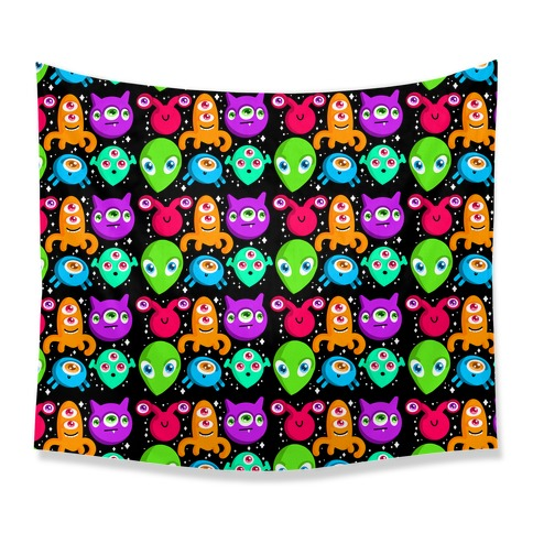 Silly Aliens Pattern Tapestry