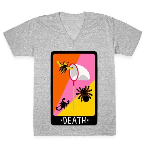 Creepy Creature Death Card V-Neck Tee Shirt