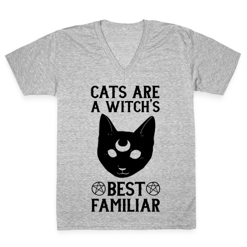 Cats are a Witch's Best Familiar V-Neck Tee Shirt
