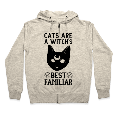 Cats are a Witch's Best Familiar Zip Hoodie
