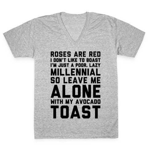 Millennial Poem  V-Neck Tee Shirt
