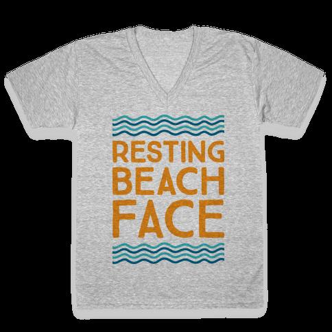 Resting Beach Face V-Neck Tee Shirt