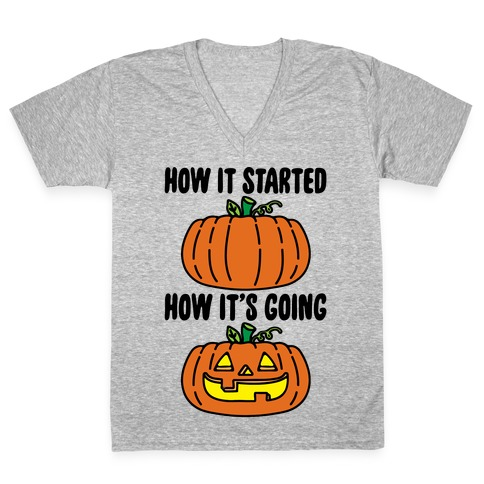 How It Started Jack O Lantern' Parody V-Neck Tee Shirt