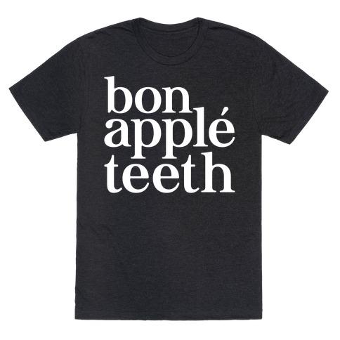 Bone Apple Teeth Parody White Print T-Shirt