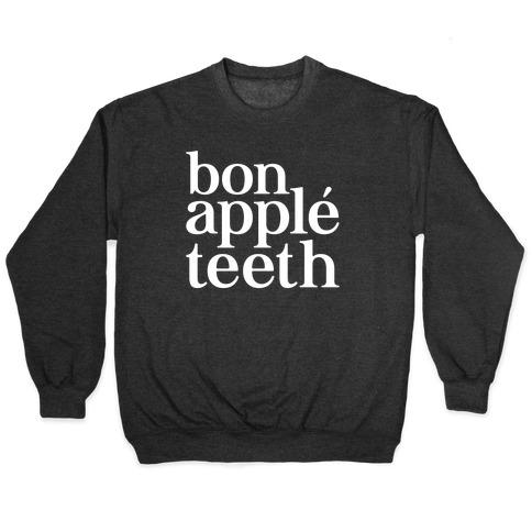 Bone Apple Teeth Parody White Print Pullover