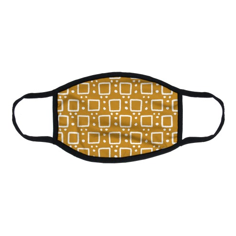 Square and Dot Yellow Brown Rustic Boho Pattern Flat Face Mask