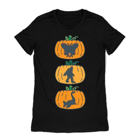 Cryptid Carvings White Print Womens T-Shirt