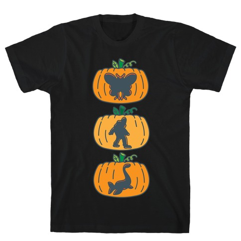 Cryptid Carvings White Print T-Shirt