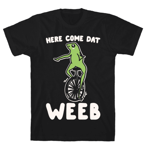 Here Come Dat Weeb White Print Mens T-Shirt