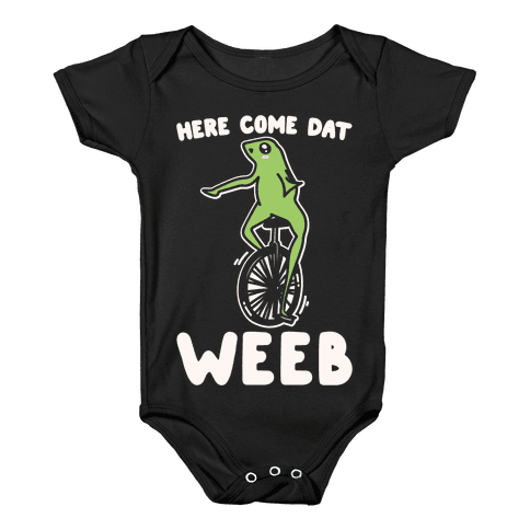 Here Come Dat Weeb White Print Baby Onesy