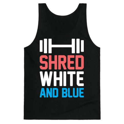 Shred White And Blue Tank Top