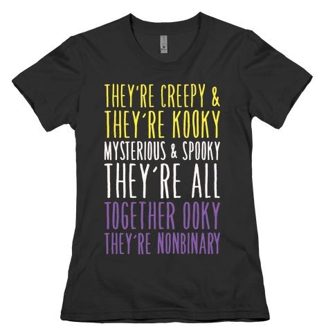 Non Binary Addams Family Parody White Print Womens T-Shirt