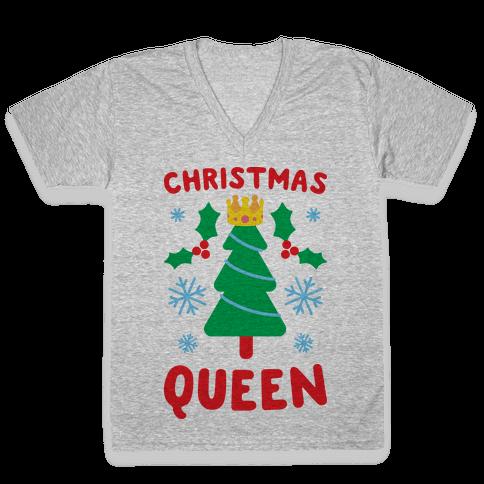 Christmas Queen V-Neck Tee Shirt