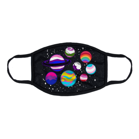 LGBTQ+ Planets Flat Face Mask