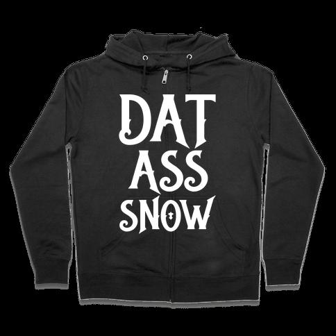 Dat Ass Snow Parody White Print Zip Hoodie