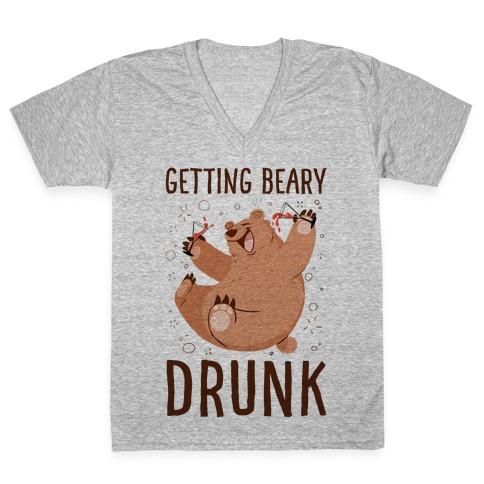Getting Beary Drunk V-Neck Tee Shirt