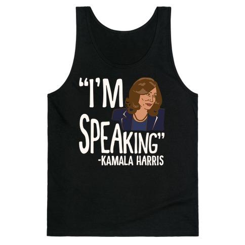 I'm Speaking Kamala Harris White Print Tank Top