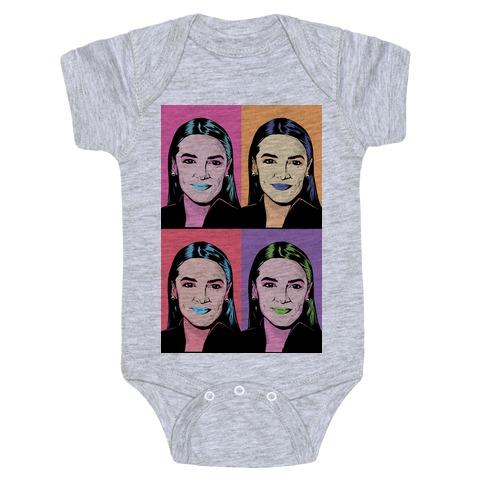 Alexandria Ocasio-Cortez Pop Art Parody Baby Onesy