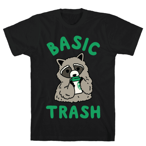 Basic Trash Coffee Raccoon Mens T-Shirt
