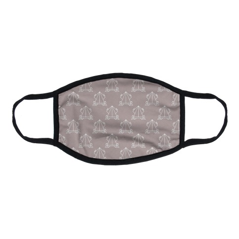 Origami Frog Pattern Grey Flat Face Mask